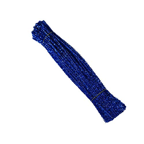 - AKOAK 100 Count 6mm x 300mm Shiny Chenille Stems Metallic Pipe Cleaners Tinsel Stems Wired Sticks for DIY Arts and Crafts (Blue)