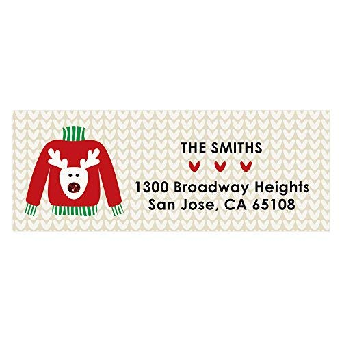 Custom Ugly Sweater - Personalized Christmas or Holiday Party Return Address Labels - Set of 30