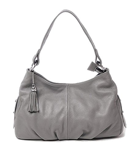 SAIERLONG Women's Tote Single Shoulder Bag Gray Genuine (Silver Gray Bag)