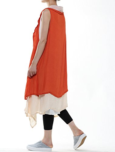 Mordenmiss Women's Contrast Color Long Waistcoat Asymmetry Hem Casual Vest Style 2-Orange by Mordenmiss (Image #4)