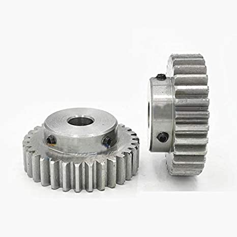 Bore: 7mm, 1.5Mod 20T 1.5Mod 20T Spur Gear With Step 45# Steel Heavy Duty Motor Pinion Gear 7mm Bore With Set Screws