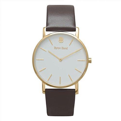 Slim Swiss Watch - 38mm Ultra Thin Slim Case Minimalist Fashion Watch for Men & Women by Byron Bond (Knightsbridge - Gold Case with White Dial and Dark Brown Leather Strap)