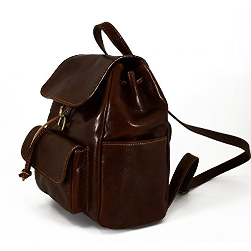 Tuscan Color Adjustable Italy Genuine Made Backpack In Leather And Carabiner With Brown Straps Upq7O7xw