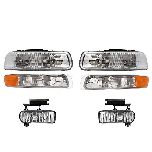 Aftermarket Replacement 6 Pc Set Headlights Fog Lights & Side Signal Marker Lamps Compatible with 2000-2006 Tahoe Suburban 1999-2002 Silverado Pickup Truck