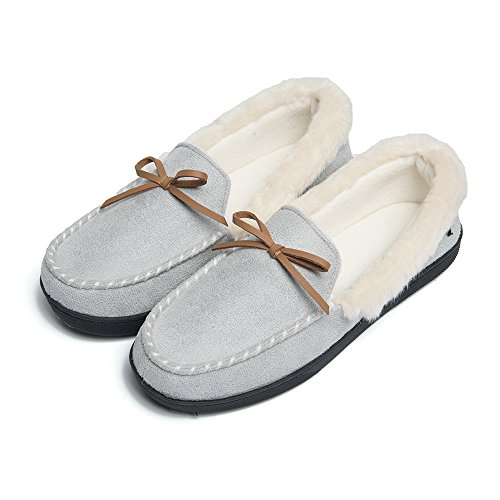 FOOTTECH Women Moccasins Slippers Faux Fur Lined Suede and Memory Foam, Breathable Indoor Outdoor Comfy Shoes Light Grey