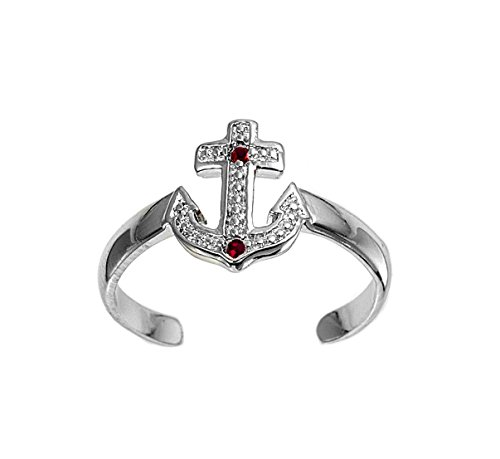 CloseoutWarehouse Simulated Ruby Cubic Zirconia Anchor Knuckle/Toe Ring Sterling Silver
