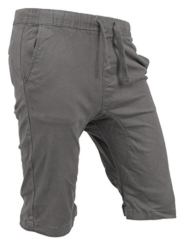 Twill Cotton Lycra Short - Hat and Beyond Twill Shorts Active Casual Cotton Spandex Pants (Large, 15R0001_Dark Gray)