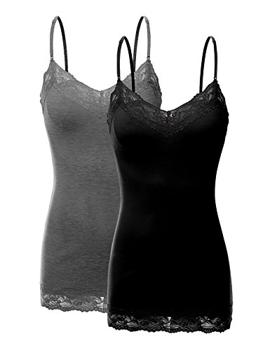 RT1004 Pack Ladies Adjustable Spaghetti Strap Lace Tunic Camisole 2Pack-BLK/HE.CHC L from Bozzolo