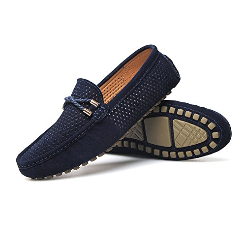Militare 5MUS Mocassini Vamp Mocassini vera Fashion Dimensione guida Perforazione Marina Nhatycir Marrone on Shoes Velluto da uomo Mocassini Flat Slip 7 in da Business pelle traspirante Color 8OxxqSFf