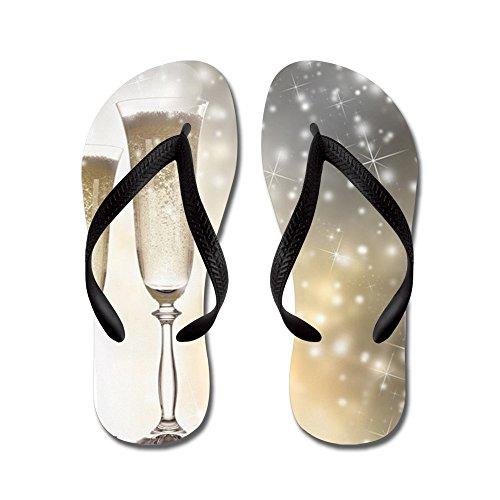 Cafepress Paar Champagne Fluiten - Flip Flops, Grappige String Sandalen, Strand Sandalen Zwart