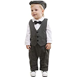 ZOEREA Baby Boy Outfits Set, 3pcs Long Sleeves Gentleman Jumpsuit & Vest Coat & Berets Hat with Bow Tie