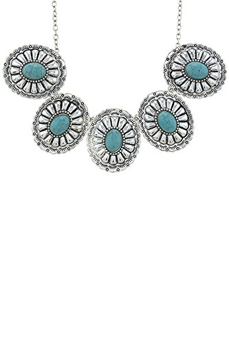 TRENDY FASHION JEWELRY FAUX STONE ACCENT ETCHED CONCHO FIVE STATION NECKLACE BY FASHION DESTINATION | (Antique Silver/Turquoise) (Concho Chain Necklace)