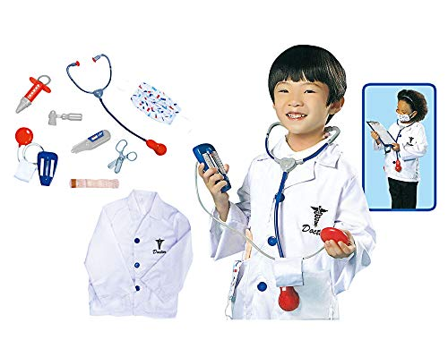 GradPlaza Children Doctor Dress Up Surgeon Costume Role Play Set With accessories, White, One Size