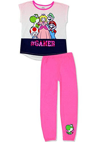 Komar Super Mario Girls 2 Piece Pants and T-Shirt Pajamas Set (Medium (7-8), Pink/White)]()