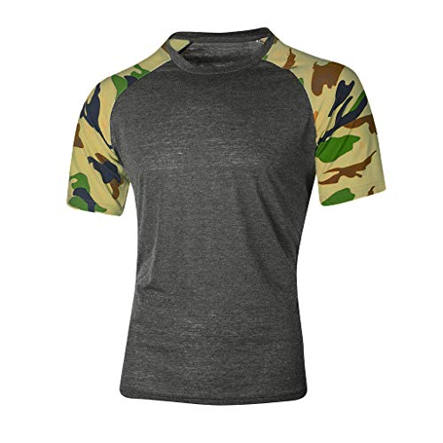 haoricu Men's Casual Raglan Block Short Sleeve T-Shirts Slim Fit Stretch Crew Neck Camouflage Baseball Tee Tops