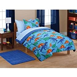 7pc Boy Blue Green Dinosaur Full Comforter Set (7pc Bed in a Bag)