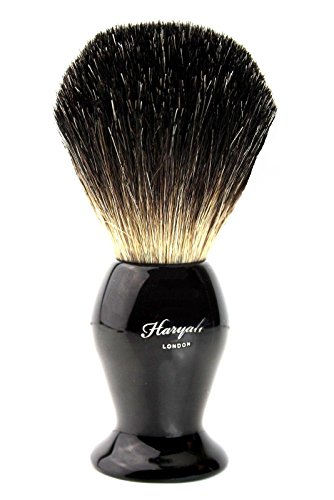 Pure Badger Natural Hair Black Bristle Shaving Brush with Steel Handle