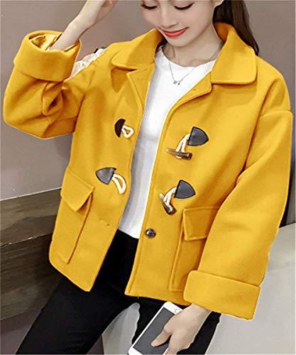Otoño Manga Modernas De Cortos Sólido Lana Casuales Mujer Gelb De Elegantes Color Lana Chaqueta Largo Moda De Prendas Niña Solapa Invierno Transición Abrigo Exteriores Outwear Abrigo Ppwq0xII