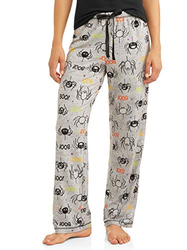 Womens Halloween Jersey Cotton Drawstring Pajama Sleep Pants (Small-3XL) (Small 4-6, Heather Grey Spiders) ()
