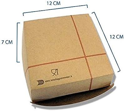 100 unidades, Caja Sándwich Mediano 12 x 12 cm. 100 unidades. Hamburguesa y Sándwich en Cartón Kraft Alimentario. Para Llevar.: Amazon.es: Hogar