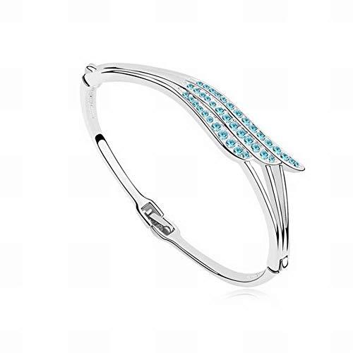 HOX Austrian Crystal Bracelet - Love Wings Gold Plated Diamond Bracelet High-End Jewelry Trendy Crystal Alloy Plated Gold, Ocean blue