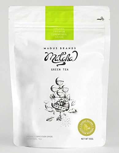 Magus Brands Premium Organic Ceremonial Grade Matcha Green Tea Powder 100g / 3.5oz [USDA Organic][Japan] (Best Flavored Tea Brands)