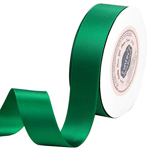 Forest Green Ribbon - VATIN 1 inch Double Face Satin Ribbon Forest Green - 25 Yard Spool, Perfect for Wedding, Wreath, Baby Shower,Packing and Other Projects.