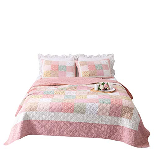 Quilt Patch Garden - Lotus Karen Pink Patchwork Girls Quilt Set Korean Garden Style Kids Bedspread Full Size Reversible Pink Floral Girls Coverlet Set Pure Cotton 3PC Teenager Bedding Set(1Quilt/2Matching Pillowcases)