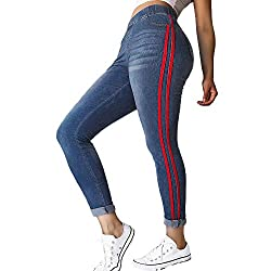 Creazrise Womens Plus Size Tight Feet Loose Elastic Waist Denim Ribbon Casual Jeans Stripes On The Side