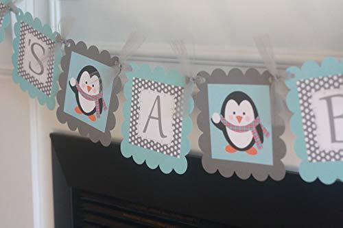 Light Blue & Grey Polka Dot Penguin Winter Snowflake Theme Baby Shower