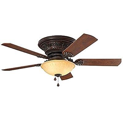 Harbor Breeze Lynstead 52-in Specialty bronze Indoor Flush Mount Ceiling Fan with Light Kit