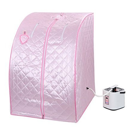 2L Portable Personal Steam Sauna Tent SPA Detox Weight Loss Stress Fatigue Power 110 Volts w/ Folding Chair Pink Herbal Box for Relax Foot Massager Fitness Enthusiasts