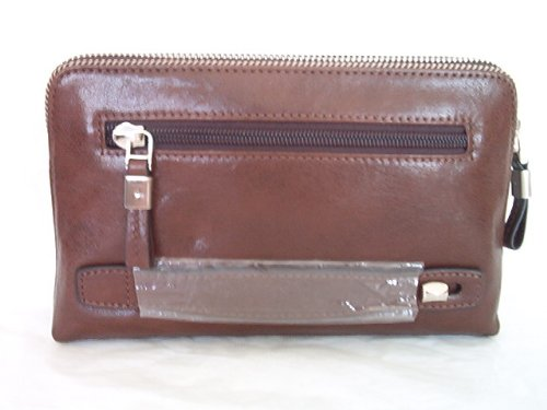 Satchi2 Zip Leather Travel Organizer Bag, Brown
