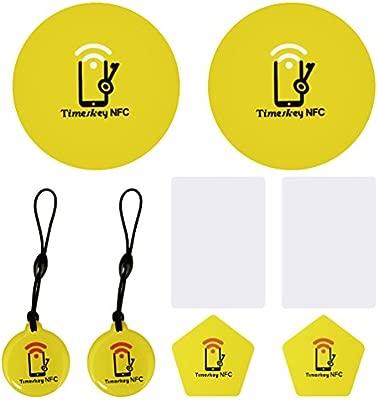 TimesKey NFC Tag Ntag215 Tags, 2 X Etiquetas NFC Silicio Posavasos + 2 X NFC Pentágono PVC Tarjetas + 2 X NFC Llavero + 2 X NFC PVC Card, Compatible ...