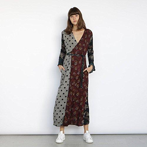 mix print dress, wrap dress maxi, wrap dress long sleeve. by Naftul