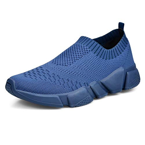 (MARSVOVO Women's Walking Athletic Shoes Lightweight Casual Breathable Breathable Mesh Running Slip-On Sneakers Dark Blue Size 6)