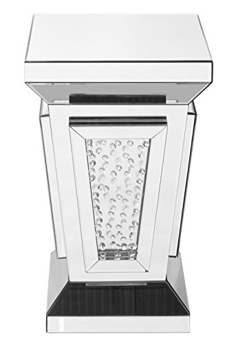 Decor Central ADMFX9-3060 Square Mirror Top Crystal End Table, 15
