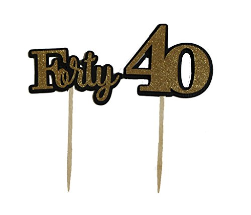 All About Details Black & Gold Forty Cupcake Toppers, Set of 12
