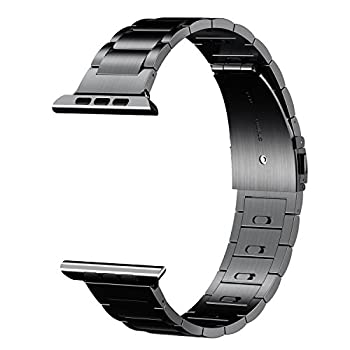 EloBeth for Apple Watch Band,iwatch Band Apple Watch Stainless Steel Watch Band(Move Links by Hand) + Adapter for Apple Watch Series 2/Series 1 (Stainless Steel-Black 42MM)