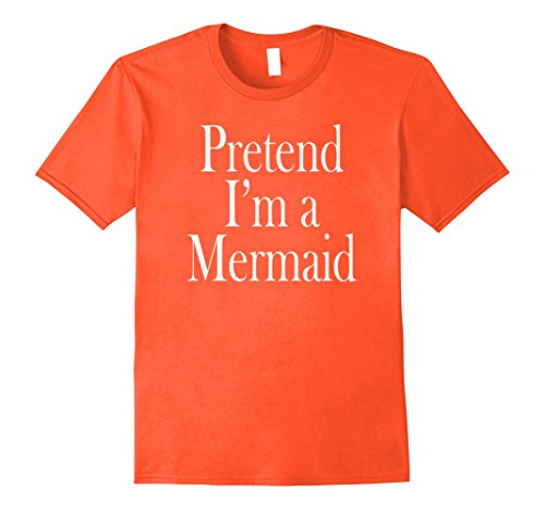 Mens Mermaid Costume T-Shirt for the Last Minute Party Large Orange