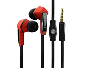 iPhone 5c Square 3.5mm Flat Wire Stereo Hands-Free Ear Buds -Black/Red iPhone 5c