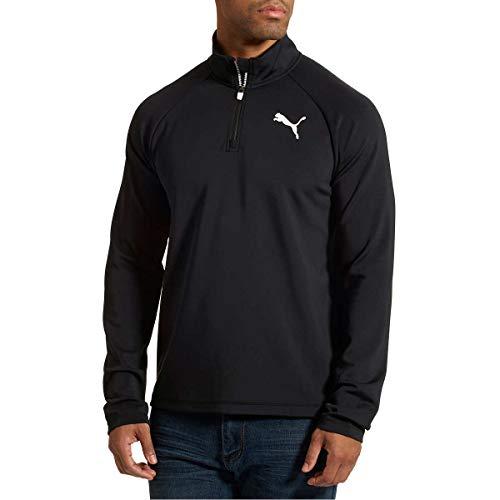 PUMA Men's Active ¼ Zip Pullover (Large, Black)