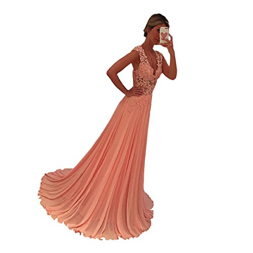 Nina Cheap Prom Dresses V Neck Sleeveless Women's Dress Formal Occasion Wear Party Gown Pink (4) by Nina (Image #2)