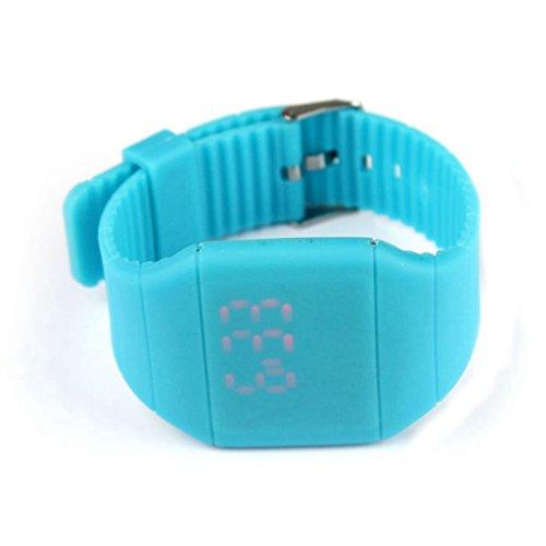 Watch - POTO 2017 New Unisex Digital LED Touch Sports Silicone Bracelet Wrist Watch (Blue)