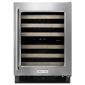 KitchenAid KUWR204ESB KUWR204ESB 24 Stainless Glass Front Wine Cellar with Wood Front Racks