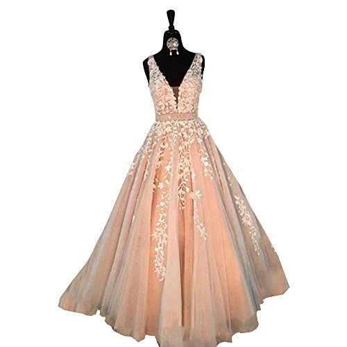 - Ruisha Women Lace Appliques Wedding Dresses for Bride Double V Neck Straps Ball Gowns RS0194 US 0 Pink