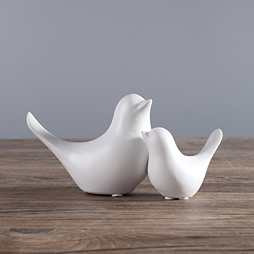(FUMING 2Pcs Modern minimalist Scandinavian style ceramic bird ornaments Home decorations crafts Figurines ceramic birds Wedding gifts (White))