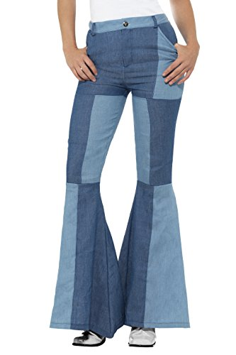 Smiffy's Women's Deluxe Flared Pants, Ladies, Blue,