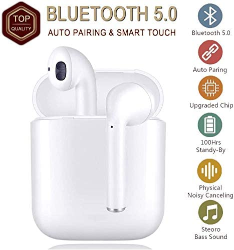 2020 Updated True Wireless Stereo Earbuds Bluetooth Headset in-Ear Earbuds Sports Headset ,Bluetooth 5.0 Auto Pairing with Charging Case for Apple Android iPhone