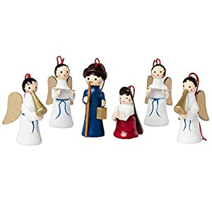 BRUBAKER 6 Handpainted Wooden Christmas Tree Ornaments Decoration - Mary, Joseph and Angels Nativity Set - Designed in Germany 106